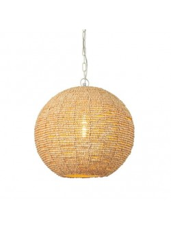 Lampa electrica glob , margele lemn , shabby chic