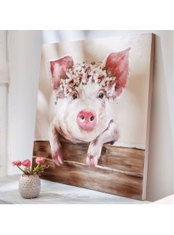 Tablou pictat manual ,Sweet Pig , 80x80cm