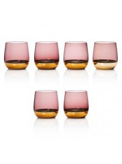 Pahare apa , sticla roz/auriu , 6 buc