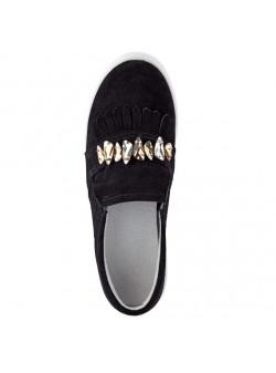 Pantofi slipper , piele intoarsa negrii cu pietre