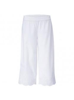 Pantaloni 3/4 albi bumbac cu broderie