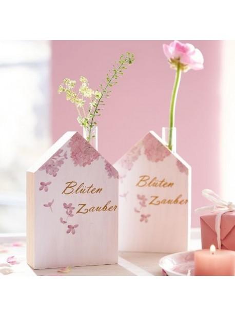 casuta din lemn cu suport flori